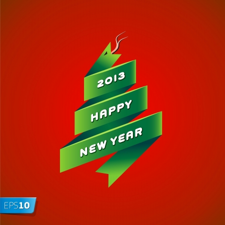 2013 new year snake on red background Vector