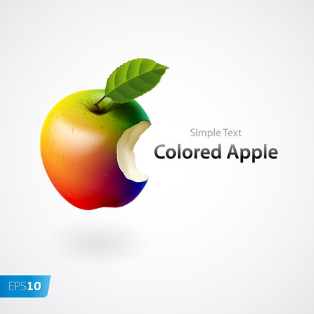 ailment: Colored bitten apple isolated Illustration