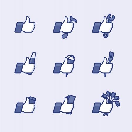 Wie Thumbs Up Piktogrammen mit täglichen Aktivitäten