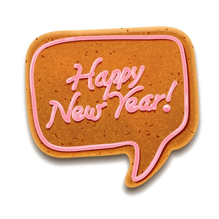 New Year speech bubble gingerbread Stock Vector - 17054582
