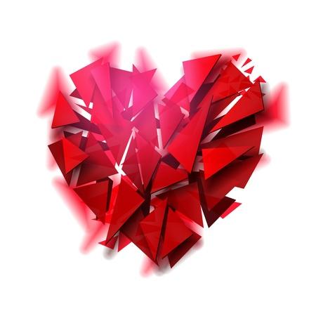 crystal heart: Broken heart on white background