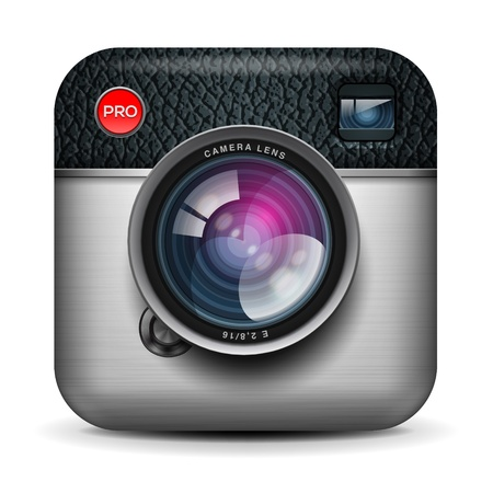 camera lens: Vintage photo camera icon Illustration