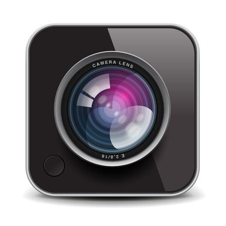 camera lens: Kleur fotocamera icoon Stock Illustratie