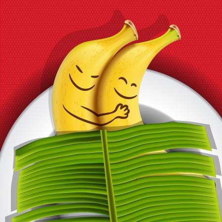 platano caricatura: Divertidos plátanos para dormir en un plato