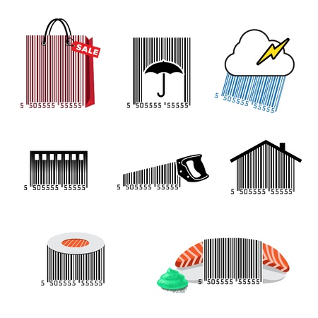 barcode scanner: Barcode set icons Illustration