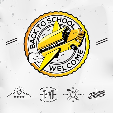 Back to school, set icons Vector