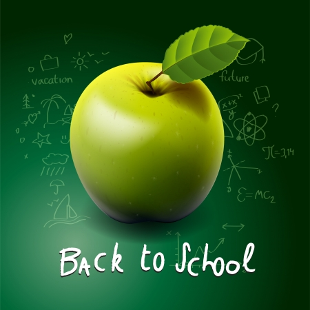 Back to school, with green apple on desk Vector