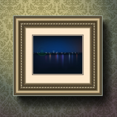 Night city painting in image frame on a wall Stock Vector - 17142090