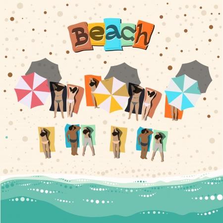 maillot de bain: Plage d'�t� avec des gens bains de soleil Illustration