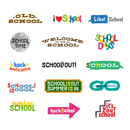 i like my school: Label - School Icons Illustration