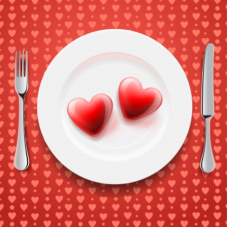 wedding table decor: Red hearts on a plate, Valentine s Day