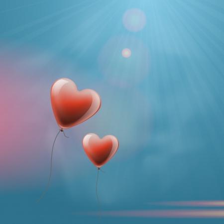 Heart balloons in the sky Stock Vector - 17233113