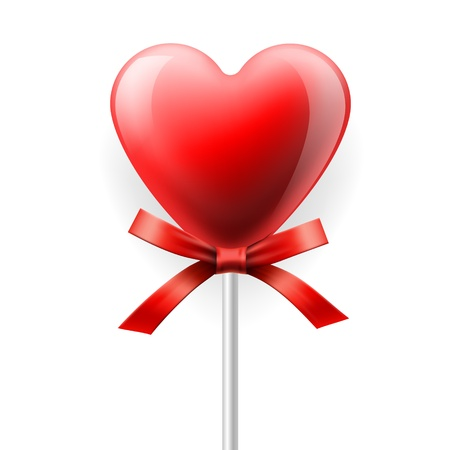 candy hearts: Red heart-lollipop isolated on white