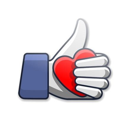 hart bloem: Zoals symbool pictogram met hart Stock Illustratie