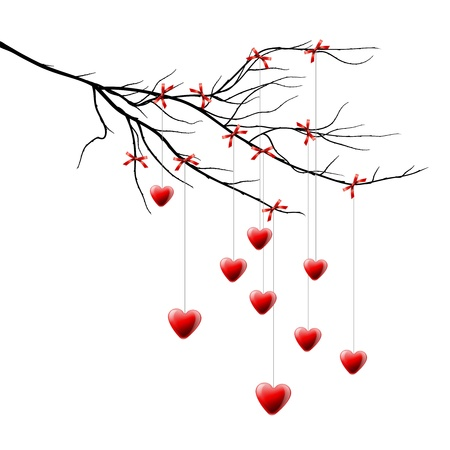 Valentine background, branch with hearts Stock Vector - 17301257
