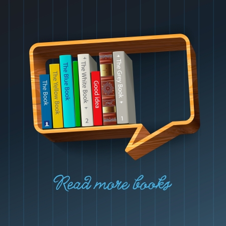 shelf with books: Bookshelf in the form of speech bubble