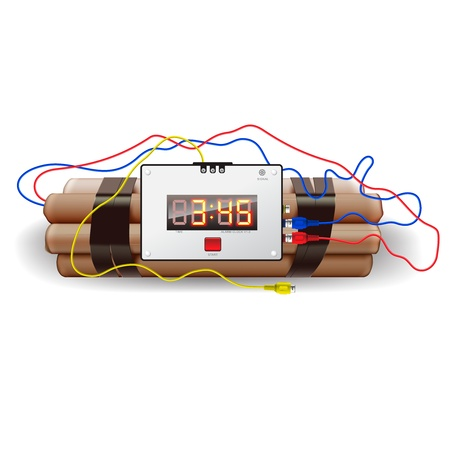 detonator: Explosives with alarm clock, isolated on white