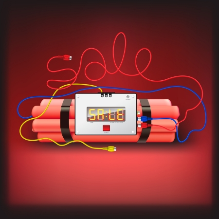 Detonator isolated on red background Stock Photo - 17385188