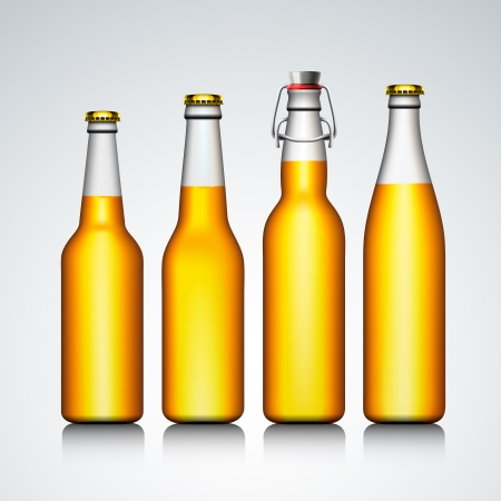 Beer bottle clear set with no label, vector Eps 10 illustration  Vector