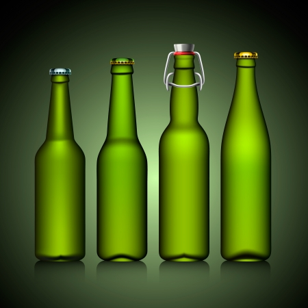 Beer bottle clear set with no label Stock Vector - 17448684