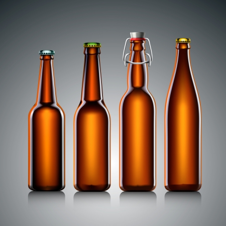 Beer bottle clear set with no label, illustration  Vector