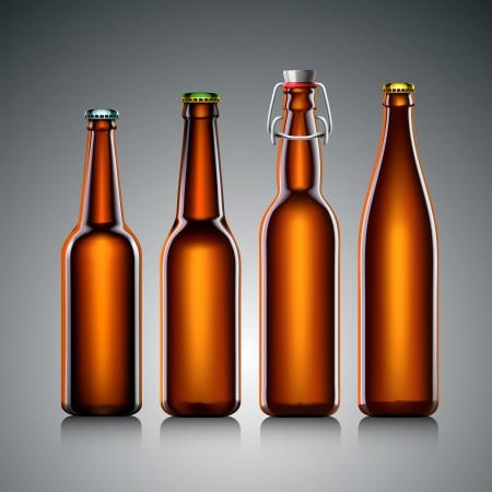 botellas vacias: Beer set botella transparente, sin etiqueta, ilustración