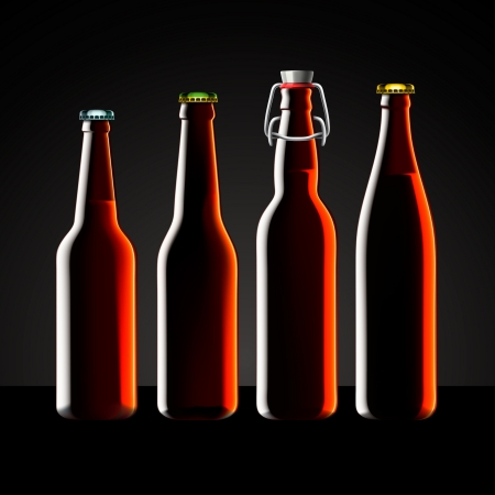 Beer bottle clear set with no label,  illustration Stock Vector - 17512814