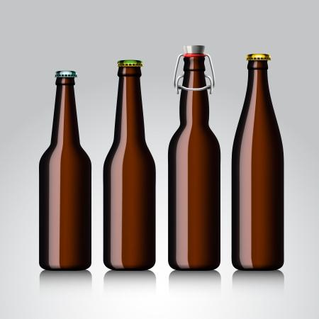 liter: Beer bottle clear set with no label,illustration  Illustration