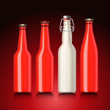 Beer bottle set with no label,  illustration  Vector