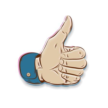 coincidir: Thumbs Up símbolo dibujado a mano aislado en blanco