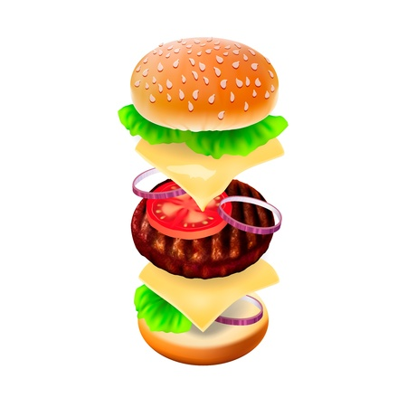 Hamburger - the view of every ingredient  Stock Vector - 17620782