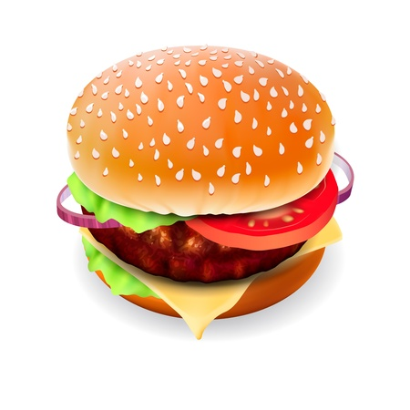sesame seed: Hamburger with meat, lettuce, cheese and tomato