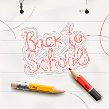red pencil: Back to school, handwritten with red pencil  Illustration