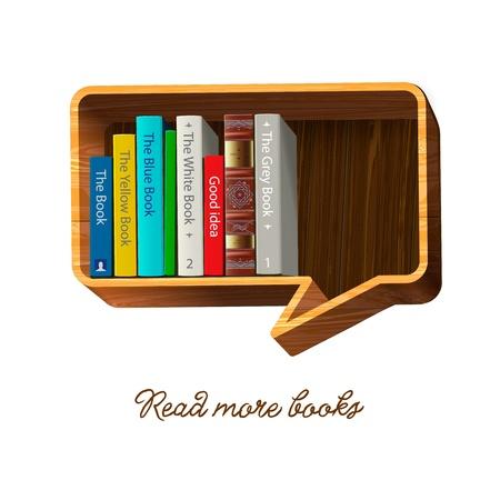 Bookshelf in the form of speech bubble  Illustration