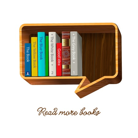 book store: Bookshelf in the form of speech bubble  Illustration