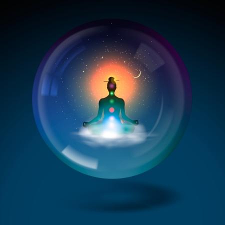 Meditando silueta sentada en posición de loto esfera Ilustración de vector