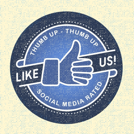 follow us: Like us Icon, Illustration icon social networks Illustration