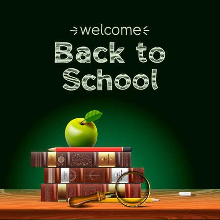espada: Volver a los libros de texto escolares, con la manzana en el escritorio