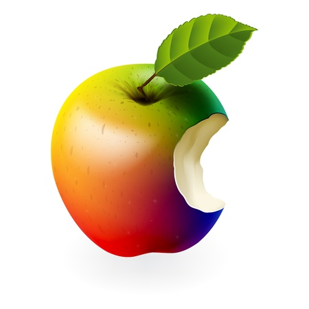 ailment: Manzana mordido aislado en color blanco