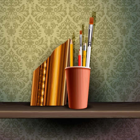 Different art brushes and pencils in flask  Stock Vector - 17712621