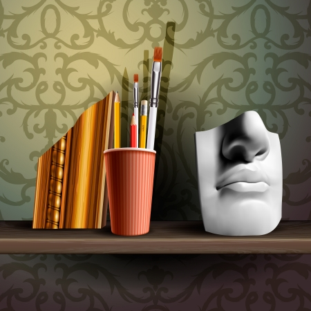 art supplies: Davids nose and different art brushes on the shelf