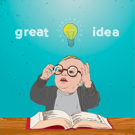 Great idea, kid with book and bulb above his head Vector