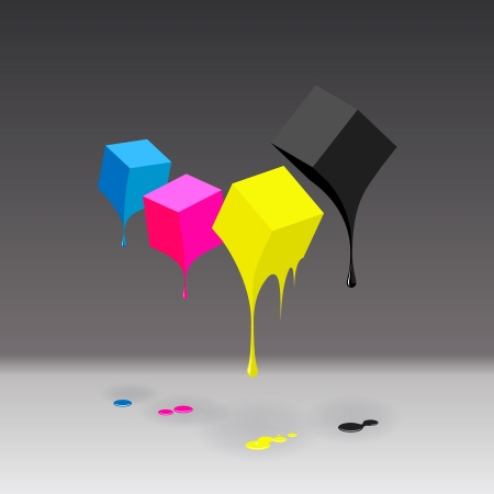 art supplies: CMYK cubes with blobs on grey background