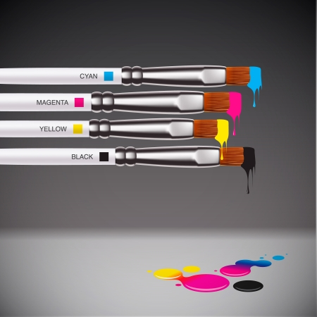 paint drip: CMYK brushes on grey background