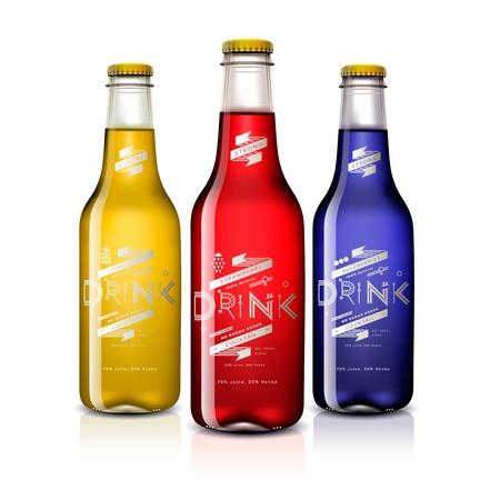 gaseosas: Botellas con bebidas diferentes, aislados en blanco