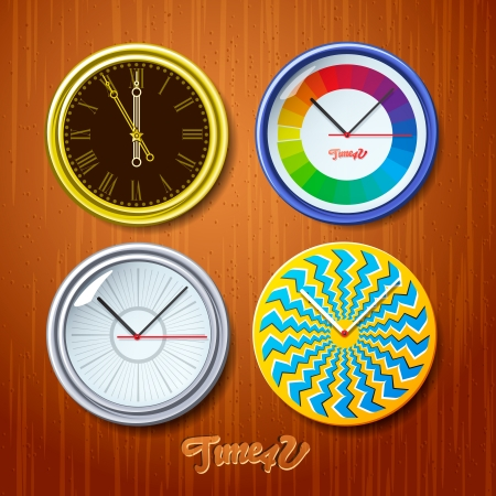 timezone: World time, watches on wooden wall Illustration