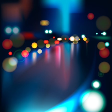 lights: Blurred Defocused Lights of Heavy Traffic on a Wet Rainy City Road at Night  Illustration