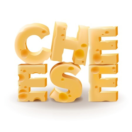 mozzarella cheese: Word Cheese written with cheese on white background Illustration