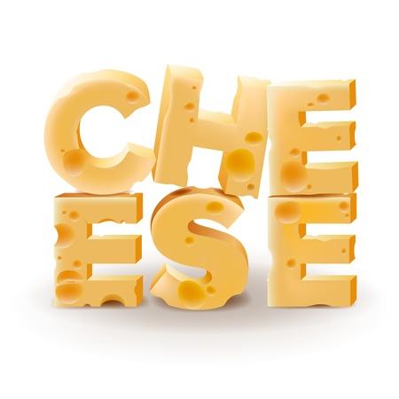 brie: Word Kaas geschreven met kaas op witte achtergrond Stock Illustratie