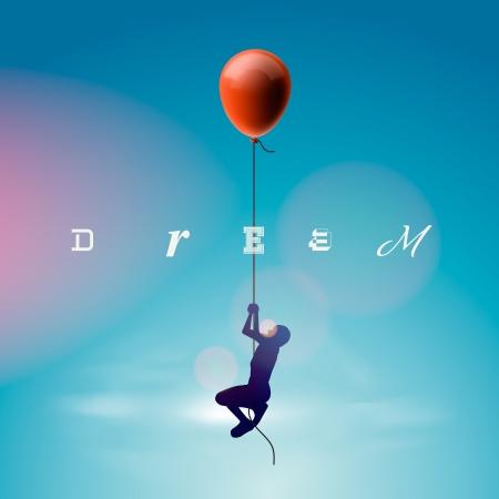 Silhouette des Mannes fliegen durch einen Ballon